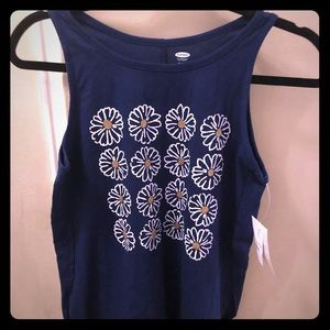 Old Navy girls navy blue with daisies tank top NWT